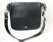 Vintage 80's COACH Large Black Shoulder Bag Purse