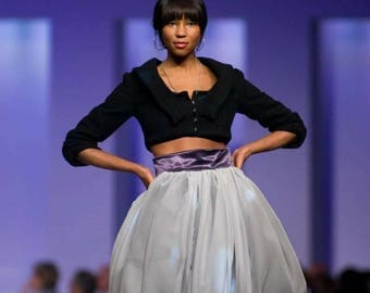 Silk chiffon bubble skirt purple and grey