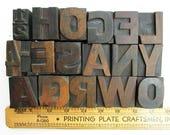Vintage Letterpress Wooden Type, Large Size Print Block Alphabet Letters, 18 Pieces, 120 Point Size, Typography, Sans Serif Caps