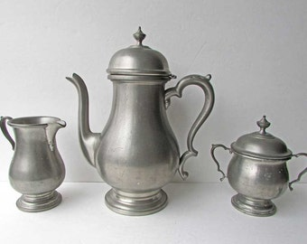 Vintage 1970's  Pewter 3 Piece Coffee Set, Coffee Pot, Creamer, Sugar, Colonial Pewter by Boardman, Old Patina Finish