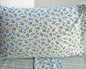 Pair of Cotton Floral Pillowcases, Whimsical Tulip Flowers in Blue and Yellow,  2 Standard Size Pillowcases,  Bedding, Bedroom Decor