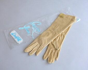 1950s gloves / 1950s Golden Evening Gloves / Deadstock 50s 60s Stretch Gloves