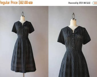 STOREWIDE SALE Vintage 50s Dress / 1950s Sheer Black Eyelet Dress / 50s Bow Neck Cotton Day Dress large L