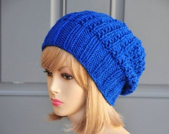 Blue Knit Slouchy Hat, Knit Slouchy Beanie, Oversized Beanie, Chunky Wool Hat, Fall Hat, Knitted Women Hat, Winter Hat, Reversible Hat