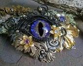 Gothic Steampunk Purple Eye Black Wire Floral Barrette