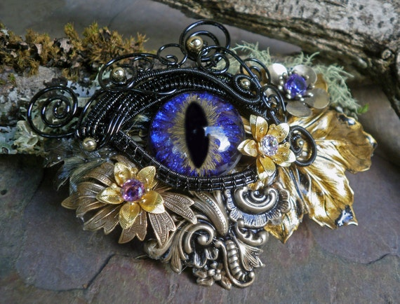 Gothic Steampunk Purple Eye Black Wire Floral Barrette