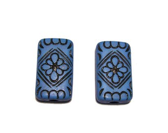 Carved Rectangle Beads Blue with Black design beads 15x25mm