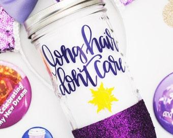 Rapunzel /// Tangled /// Glitter Mason Jar Tumbler // Glitter Tumbler // Glitter Glass