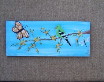 Bird and Butterfly Painting One of a kind original FREE SHIPPING