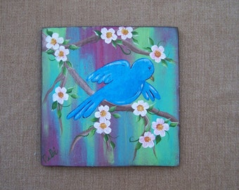 Bluebird and flowers painting Original, One of a Kind painting FREE SHIPPING