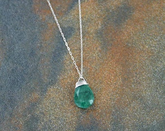 May Birthstone Necklace, Emerald Necklace, Emerald Briolette Necklace, May Jewelry, Birthstone Jewelry, Birthday Necklace