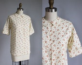 1960s cream white - pink rose print cotton deadstock shirt - rounded collar - xs - s