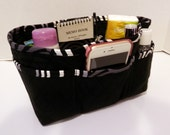 "Purse Organizer Insert/4"" Depth Enclosed Bottom/Quilted/ Black, Gray, and White"