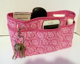 Quilted Purse Organizer Insert With Enclosed Bottom Large - Pink and White
