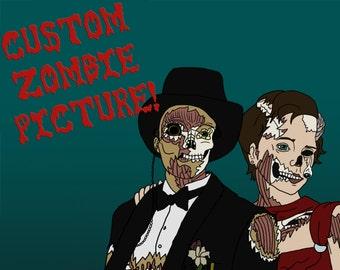 Custom - Photo to Zombies Digital Drawing. 8x10 or 11x14 300 dpi