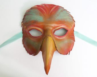 Colorful Leather Bird Mask in red teal orange yellow fantasy colors Masquerade costume Parrot