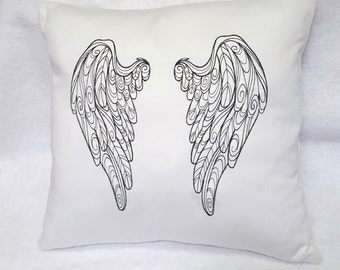 Heavenly White Angel Wings Decorative Pillow Decor Couch Living Bed Room Home Clean Embroidered Black Simple Mother's Day Gift
