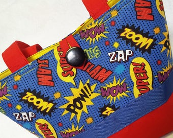 POW ZOOM ComicCon Purse Red Blue Yellow Tote Pockets Button Loop Ladies Teen Grafic Comic Book Style Cool