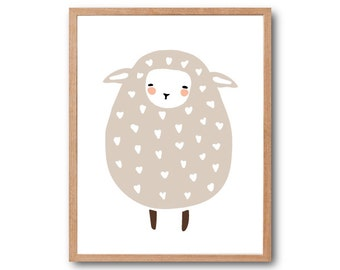 Baby Sheep Art Print, Sheep Art print, Animal Illustration, Children Room Decor, Kids art, Baby Nursery Decor, home decor