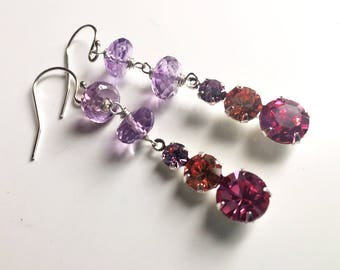 Tri Color ONE OF A Kind vintage 1950's Swarovski crystal and Amethyst earrings