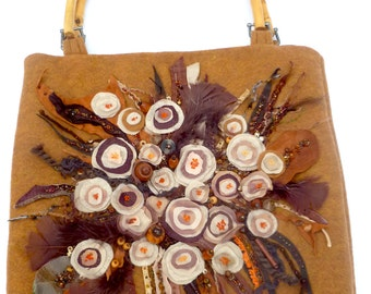 Brown floral purse IV, featured in Haute Handbags fall 2016, fiber art fabric collage, felt bohemian floral statement handle bag, up cycled