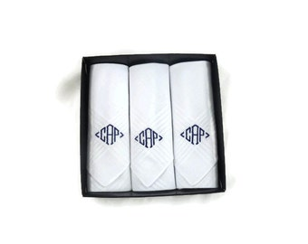Monogrammed Handkerchiefs White with Tray Set of 3