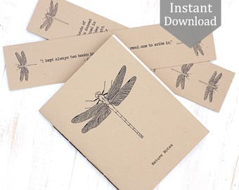 Pocket Nature Notebook Covers + 2 Bookmarks - Dragonflies - Digital - Printable PDF