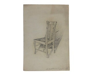 1920s Art Sketch | Vintage Chair | Signed Original | Wall Hanging | Farmhouse Chair | Modern Farmhouse