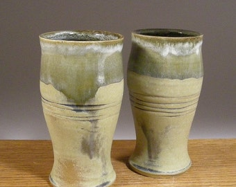 Pair of 20 oz Tumbler, Pilsner Style Stoneware, Pottery, Cups