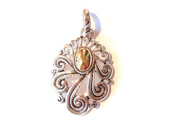 Curly Swirly Two Tone Oval Pendant with Detachable Bail