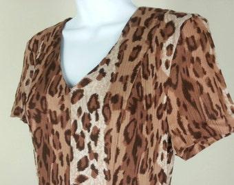 Vtg 70s leopard print brown dress by Caroline Wells size 6 chest 36