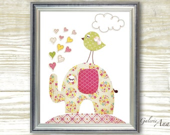 Kids wall art baby girl nursery decor nursery arr Elephant nursery Bird nursery kids decor hearts nursery - Lots Of Love print