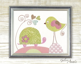 Baby nursery decor - nursery wall art - baby nursery art decor - Kids wall art - nursery girl room Bird Turtle - Papottage print