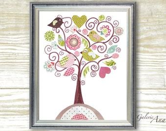 Children's art - nursery decor - baby nursery print - kids art - kids room decor - nursery wall art - Bird - Fantasy Tree
