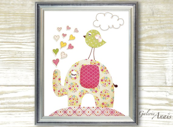 kids wall art baby girl nursery decor nursery arr elephant