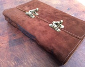 Double latch Leather sketchbook -soft brown suede leather journal with recycled sketch paper by Binding Bee.