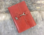 Refillable leather journal / Refillable Notebook with Skeleton Key by Binding bee