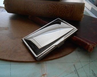 shiny silver business card case - vintage old new stock