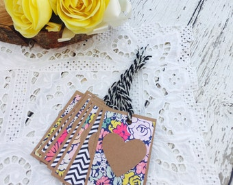 Floral Fancy Mini Heart Tags Collection Set of 7