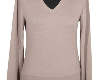 CACHAREL italian vintage beige wool V NECK jumper sweater pull over az