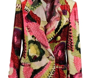 LAURA BIAGIOTTI Vintage Multicolor Velvet BLAZER and Silk shirt co ord set size 42