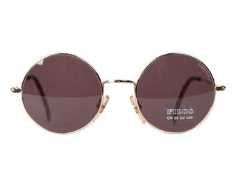 FILOS Vintage Made in Italy ROUND SUNGLASSES Gold/Brown mod. 2121 48mm