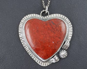 Brenda Agate Heart Necklace, sterling silver, heart necklace, heart jewelry, valentines day heart, heart pendant, red heart jewelry, red