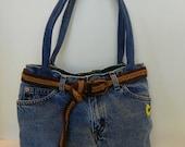 Ready2Ship Sale Upcycled Denim Shoulder Purse Bag with Belt