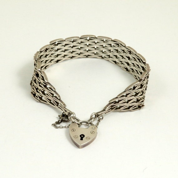 Vintage English Sterling Silver Gate Bracelet with Heart Padlock