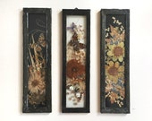 3 Bulgarian Botanical Butterfly Compositions Encased in Glass Old Frame Vintage 60's Dried Pressed Flowers Folk Art