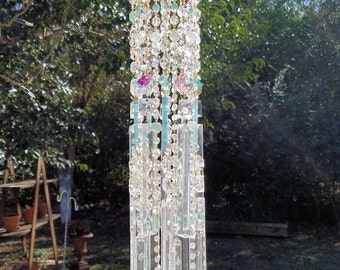 Reserved for Jennie - Antique Opalescent Crystal Wind Chime, Jellyfish Wind Chime, Murano Glass Wind Chime, Garden Decoration