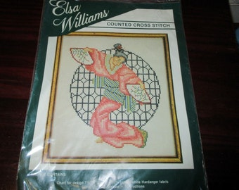 Elsa Williams Counted Cross Stitch Kit Dancing Geisha 02028 Complete and Ready to Stitch