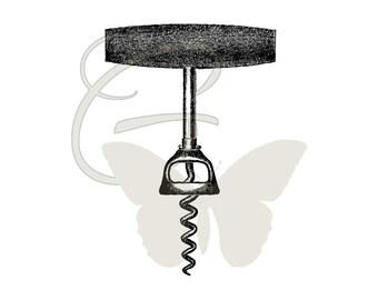 Digital Corkscrew Clip Art Printable Iron On Transfer Illustration Wine Crafting Image Download