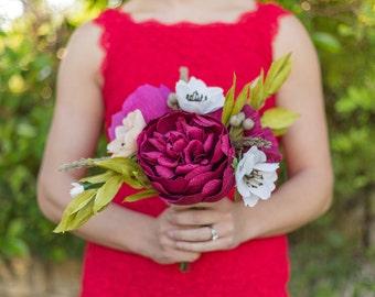 Large handmade crepe paper flower bouquet